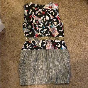 Rachel Roy mixed media sleeveless dress